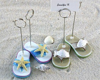 Beachcombers Flip Flop Place card Holders - Set of 4 (2 pairs) - Baby Shower Gifts & Wedding Favors (Flop Card Holder Flip)