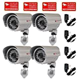 VideoSecu 700TVL Outdoor Bullet Security Cameras 4 Pack Built-in 1/3'' SONY Effio CCD Day Night Vision Wide Angle 28 IR Infrared LEDs with Power Supplies and Free Security Warning Decals CLQ