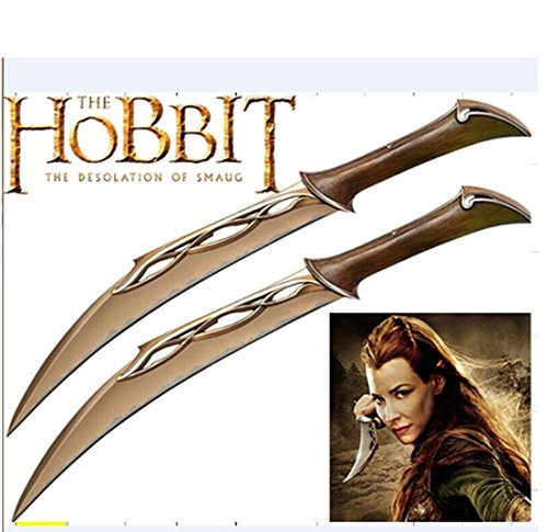 S0099 HOBBIT ELVEN TWIN FIGHTING KNIVES DAGGERS OF TAURIEL W/ WALL MOUNT 20.5""