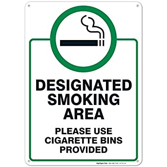Cartel grande en inglés «Designated Smoking Area», 25,4 x 35 ...