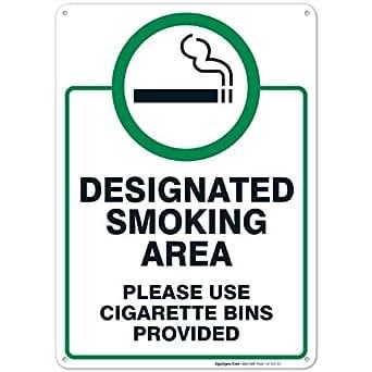 Amazon.com: Signo de área de fumar, letrero de uso de cubos ...