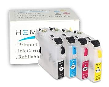 Amazon.com: f-ink @ 4Pcs LC203 de tinta vacíos recargables ...