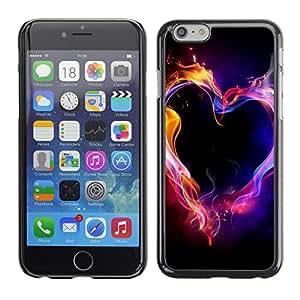 For Apple iPhone 6 Plus(5.5 inches)Case , Neon Flames Black Passion Love - Diseño Patrón Teléfono Caso Cubierta Case Bumper Duro Protección Case Cover Funda