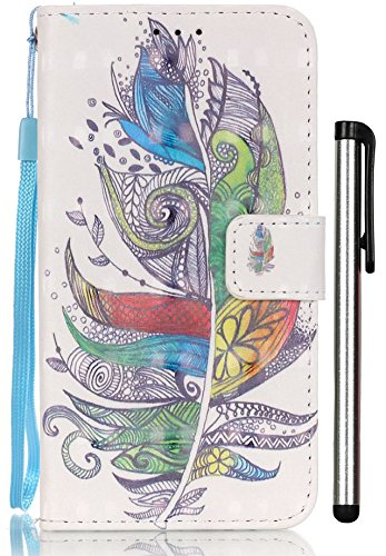 [3D Painting] S5 Case, Leather Wallet Cases Flip Covers for Samsung Galaxy S5 GT-I9600 Kickstand 2 Slots Purse Women Men Gift Card Holder Colorful Feather (Samsung Note 3 Neo Best Price)