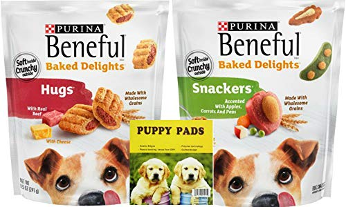 Purina Beneful Baked Delights. Hugs With Real Beef and Snackers with Apples, Carrots, and Peas, Peanut Butter Flavor. Popular Dog Calming Snacks. Puppies Love Em! Also Includes a Dependable Puppy Pad.