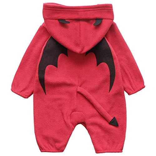 Infant Devil Costume (FANCYINN Toddler Baby Lil' Devil Costume Infant Halloween Costumes Hooded Romper Onesie 70)