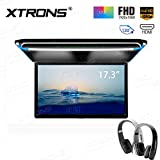 XTRONS 17.3 Inch 16:9 Ultra-thin FHD Digital TFT Screen 1080P Video Car Overhead Player Roof Mounted Monitor HDMI Port 19201080 Full High Definition New Version IR Headphones(Black&White)