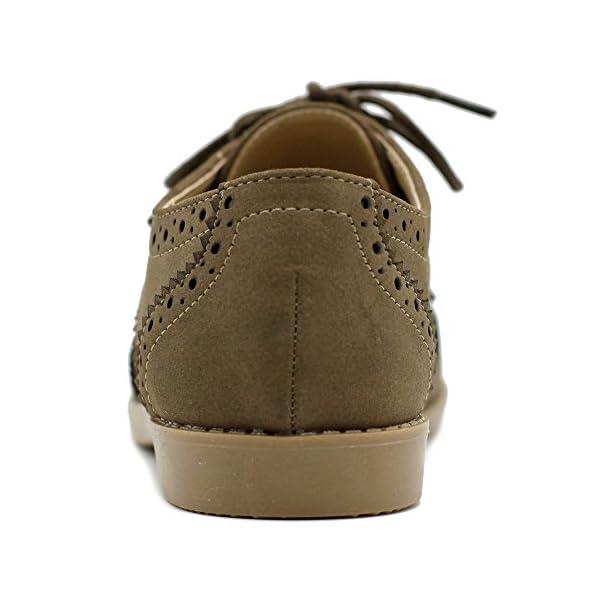 Ollio Women's Flat Shoe Wingtip Lace Up Faux Nubuck Oxford