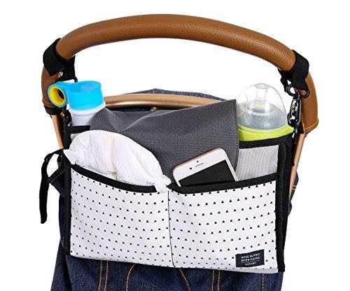 iSuperb Stroller Organizer Bag Stroller Accessories Baby Diaper Stroller Bag Buggy Organiser Storage (Black Triangle)