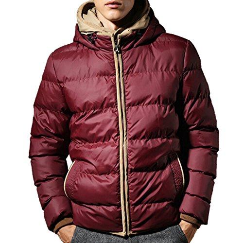 QIYUN.Z Männer Winter Warme Jacke Doppelschichten Kapuzenmütze Dicke Daunen Cotton-Padded Mantel