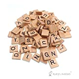 Raylinedo 200X Wooden Scrabble Tiles Letter Alphabet Scrabbles Number Crafts English Words UPPERCASE MIXED