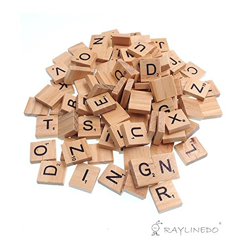 Raylinedo 200X Wooden Scrabble Tiles Letter Alphabet Scrabbles Number Crafts English Words UPPERCASE MIXED by RayLineDo