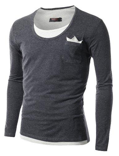 Doublju Mens Layered Long Sleeve T-Shirts BLACK (US-M)