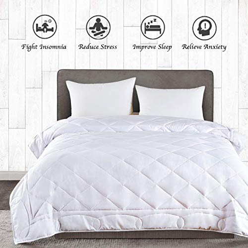 Glass Queen Size Bed - JOLLYVOGUE King Size Weighted Blanket(25lbs,88x104Inches),Queen or King Size Bed Adult Weighted Blanket with 100% Soft Cotton and Glass Beads-White