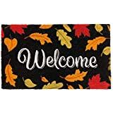 """Briarwood Lane Welcome Leaves Fall Coir Doormat Natural Fiber Colorful Autumn 18"""" x 30"""""""