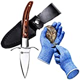 """Oyster Knife By HiCoup - Premium Quality Pakka Wood-handle Oyster Shucking Knife with""""Full Tang"""" Blade, Leather Sheath and Cut Resistant Gloves"""