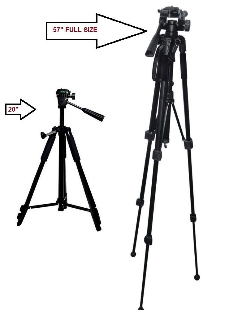 """57-Inch 57"""" Multi-Angle Tripod For Canon, Nikon, Olympus, Panasonic, Sony - EOS Rebel T6, T6s, T6i, SL1, SL1, T5, T5i, T4i, T3, T3i, D3000, D3100, D3200, D3300, D5000, D5100, D5200, D5300, D5500"""