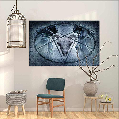Oncegod Wall Painting Prints Sticker Horror House Artwork with Pentagram Icon Goat Skull Devil Dream Hooded Figure Exorcist Image for Home Decoration Wall Decor Blue W35 xL31