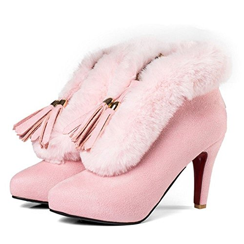 Women's With Bootie Zipper TAOFFEN Fashion Pink Boots 7qpdWRw
