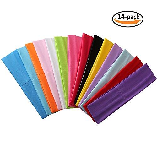Stretch Headband (Zapire 14pcs Mixed Colors Yoga Sports Headbands for Women - Soft Elastic Stretch Girls Athletic Headbands)
