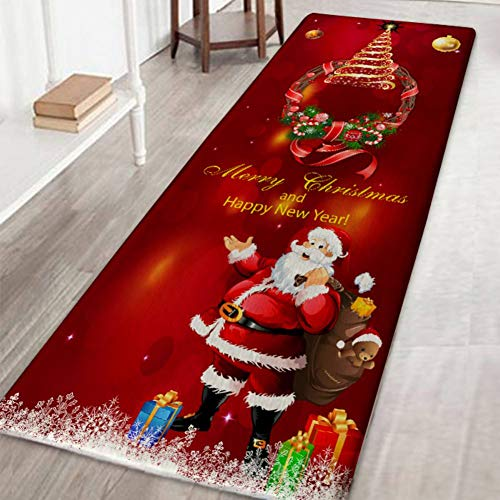 Handfly Chrismas Santa Claus Area Rugs Ultra Soft Water Absorb No-Slip Doormat Area Rugs Carpet for Indoor Living Room Bedroom Chrismas Home Decoration,60x180cm