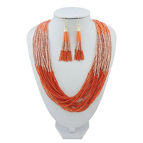 BOCAR Multi Layer Beaded Statement Necklace Set Mix Strand Necklace and earrings for Women Gift - Orange Mix And Blue