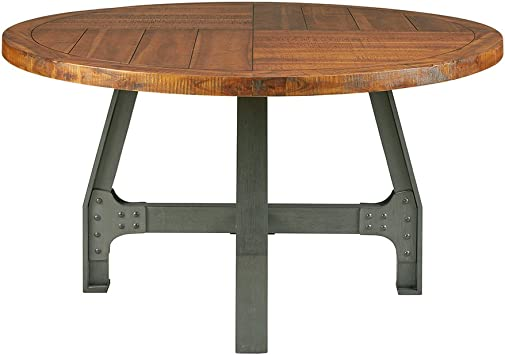 Ink+Ivy Lancaster Round Dining Table - Solid Wood, Metal Base Dining Room  Table - Amber Wood, Industrial Style Kitchen Table - 1 Piece Metal Frame ...