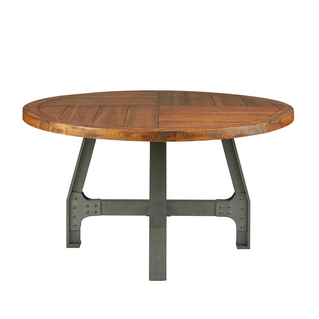 Ink+Ivy Lancaster Round Dining Table - Solid Wood, Metal Base Dining Room Table - Amber Wood, Industrial Style Kitchen Table - 1 Piece Metal Frame Wooden Top Round Table For Dining Room by Ink+Ivy