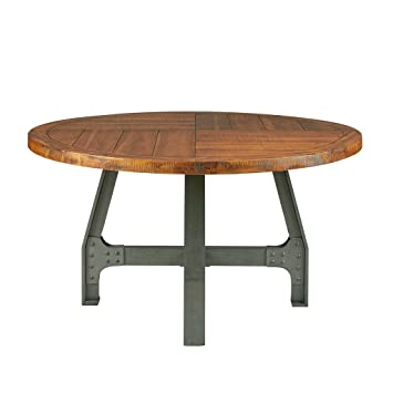 Ink Ivy Lancaster Round Dining Table Solid Wood Metal Base Dining Room Table Amber Wood Industrial Style Kitchen Table 1 Piece Metal Frame