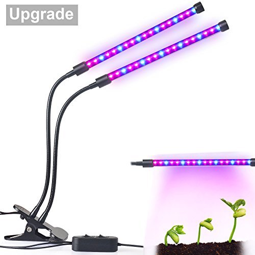 Upgraded Dual Lamp Led Grow Light Aotson 18w Dimmable 2