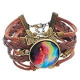 MJartoria Wax PU Leather Rope Braided Butterfly Infinity Symbol Galaxy Glass Cabochon Charm Bracelet Red