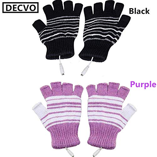 DECVO USB 2.0 Powered Stripes Heating Pattern Knitting Wool Heated Gloves Fingerless Hands Warmer Mittens Laptop Computer Warm Gloves for Women Men Girls Boys 2 Pack (Black+Purple)