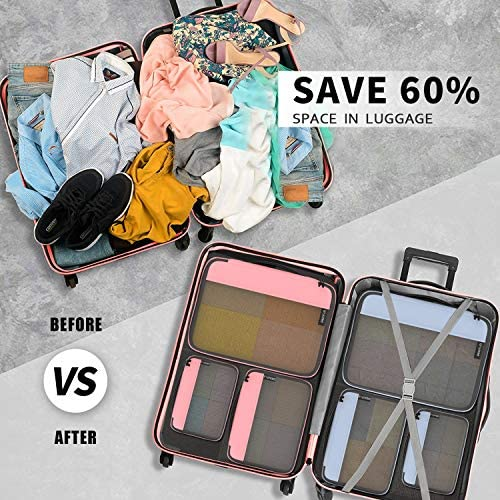 Packing Cubes Organizer Bags for Wardrobe or Suitcase Clothes Storage Bag for Home or Travel Packing Cube 6 set for Luggage Suitcase Grey Pink
