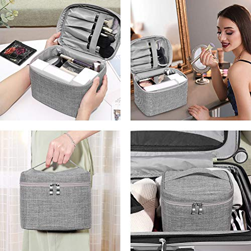 Makeup Bag Travel Large Cosmetic Bag Case Organizer Pouch with Mesh Bag Brush Holder Make Up Toiletry Bags for Women