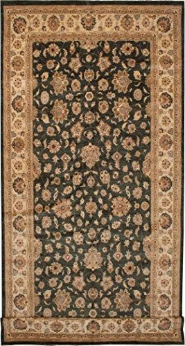 Chobi Carpet - eCarpet Gallery Hand-knotted   Large Area Rug for living room, bedroom   Home Decor Rug   100% Wool   Chobi Twisted Bohemian Green Rug 9'1