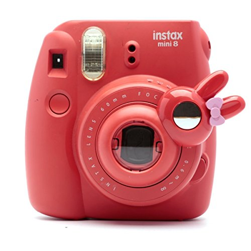 [Fujifilm Instax Close up Lens]-Woodmin Rabbit-style Selfie Lens for Fuji Instant Mini 8/8 Plus/7s Camera (Red) (Aluminum Traveler Case)