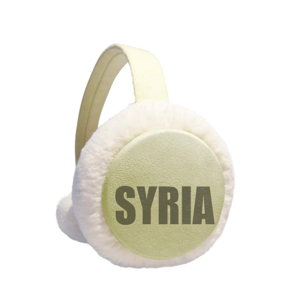 Syria Country Name Winter Warm Ear Muffs Faux Fur Ear