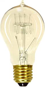 SATCO S2412 40W 120V Vintage Style A19 Incandescent Bulb, 6-Pack of 40 Watt Edison Style Light Bulbs for use in your home, office, vanity, or any other vintage light inspired space in your household