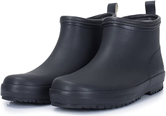 SATUKI Adult Mens Antiskid Short Ankle High Rubber Water Resistant Shoes Rain Boots