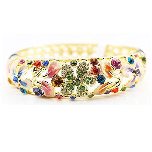 Findout main cloisonné en céramique plaqué or rose Bracelet diamant multicolore cristal, pour les femmes les filles, (f1311)