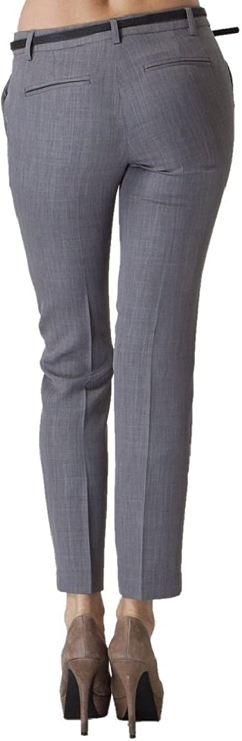 Vitamina USA Belted Slim Fit Dress Pants #2577 (S, Gry) at Amazon Womens Clothing store: