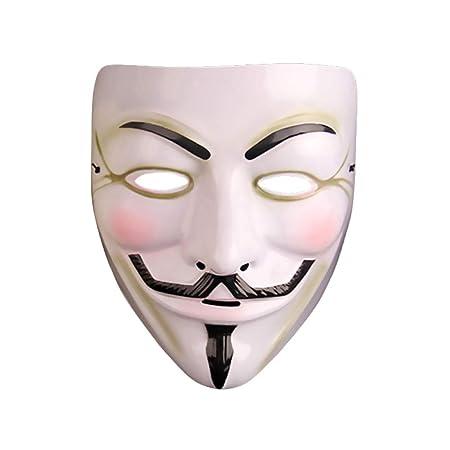 MYJ Mascarada de Navidad V Máscara de Invitado - V Palabra Vendetta Hacker Fantasma Danza Werewolf Matanza Máscara Masculina,Blanco: Amazon.es: Deportes y ...