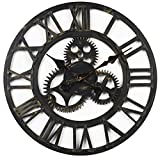 European Retro Wooden Mute Creative Personality Of Large Gears Decorative Wall Clock , B