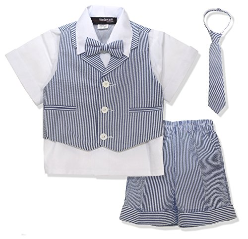 Gino Giovanni G286 Baby Toddler Boy Seersucker Summer Suit Vest Short Set (X-Large/18-24 Months, Navy) ()