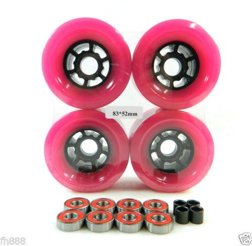 90mm Longboard Flywheels Wheels + ABEC 7 Bearings Spacers (Pink) by Blank
