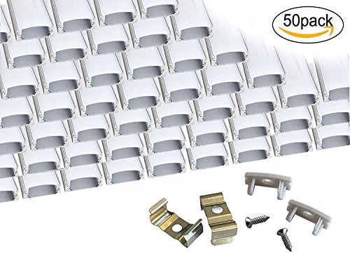 Muzata 50-Pack 3.3ft/1Meter 9x17mm U Shape LED Aluminum Channel System With Cover, End Caps and Mounting Clips Aluminum Profile for LED Strip Light Installations, Led Lights Diffuser Segments by Muzata