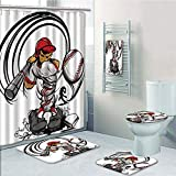 Bathroom 5 Piece Set Shower Curtain 3D Print,Teen Room Decor,Baseball Cartoon Player Hitting The Ball Boys Kids Caricature Print,Grey Red White,Bath Mat,Bathroom Carpet Rug,Non-Slip,Bath Towls