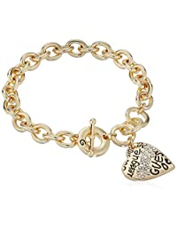 Guess Basic Graffiti Logo Heart Toggle Charm Bracelet