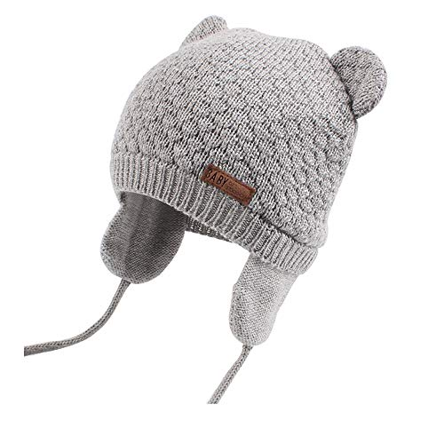 - XIAOHAWANG Warm Baby Hat Cute Bear Toddler Earflap Beanie for Fall Winter (2-3Years, Grey)