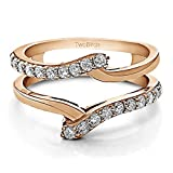 TwoBirch 0.5 ct. Cubic Zirconia Bypass Ring Guard Enhancer in Rose Gold Plated Sterling Silver (1/2 ct. twt.)